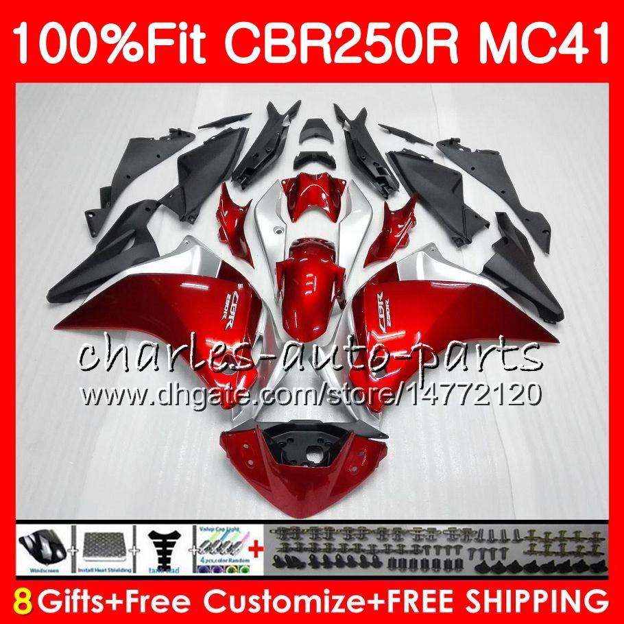 Injection pour Honda CBR300R CBR250R MC41 11 12 13 14 15 94HM1 CBR250 R CBR 250R 300R CBR 250 R 2011 2012 2013 2014 2015 Caréchage brillant rouge