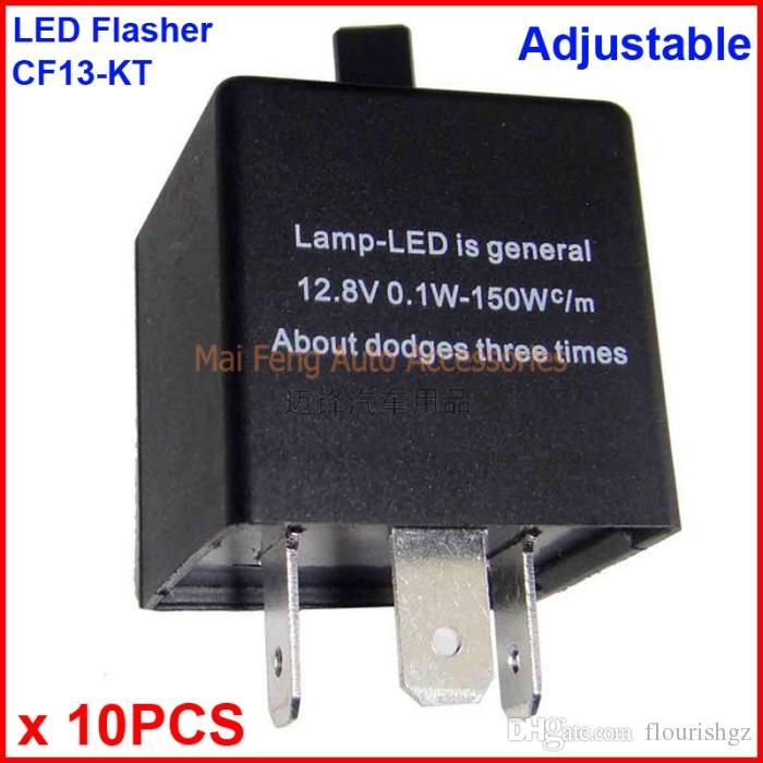 10 UNIDS CF13-KT LED Flasher Ajustable Color 3 Pin Módulo de Relé Electrónico Arreglar Coche LED SMD Error de Señal de Giro Parpadeo Intermitente 12V 0.02A a 20A
