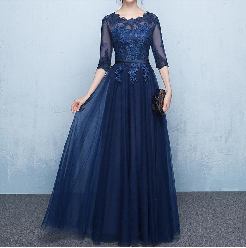 Bleu marine élégante mère de Sheer moitié Robes de mariée manches avec appliques à lacets Retour étage longueur mère de la robe de mariée
