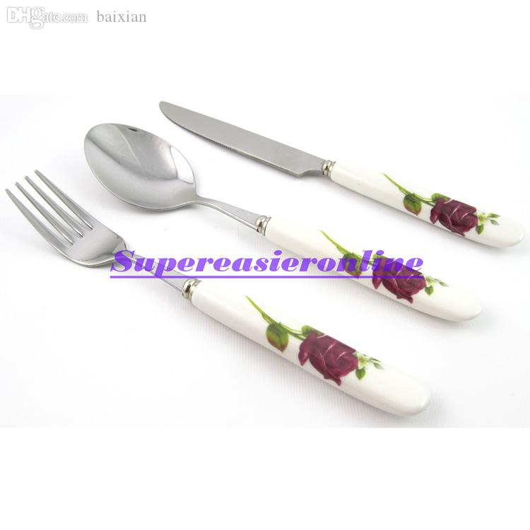 Wholesale-Stainless Steel Fork & Spoon & Knife White Ceramic Handle Flower Design 3in1 Dinnerware Pack Flatware Set Cutlery Kit Gift