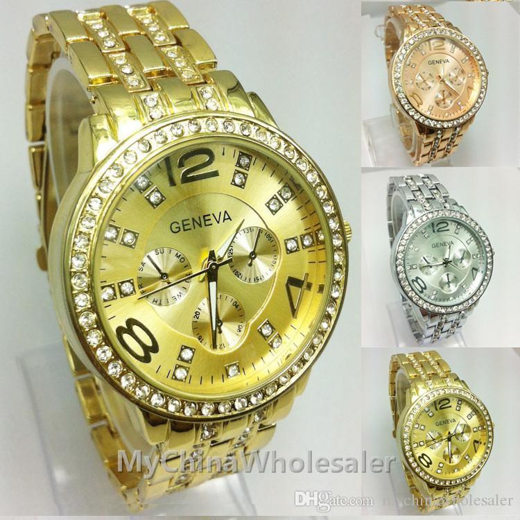 여성을위한 제네바 스테인레스 스틸 시계 금속 손목 시계 패션 럭셔리 골드 크리스탈 쿼츠 라인 석 날짜 레이디 여자 손목 시계