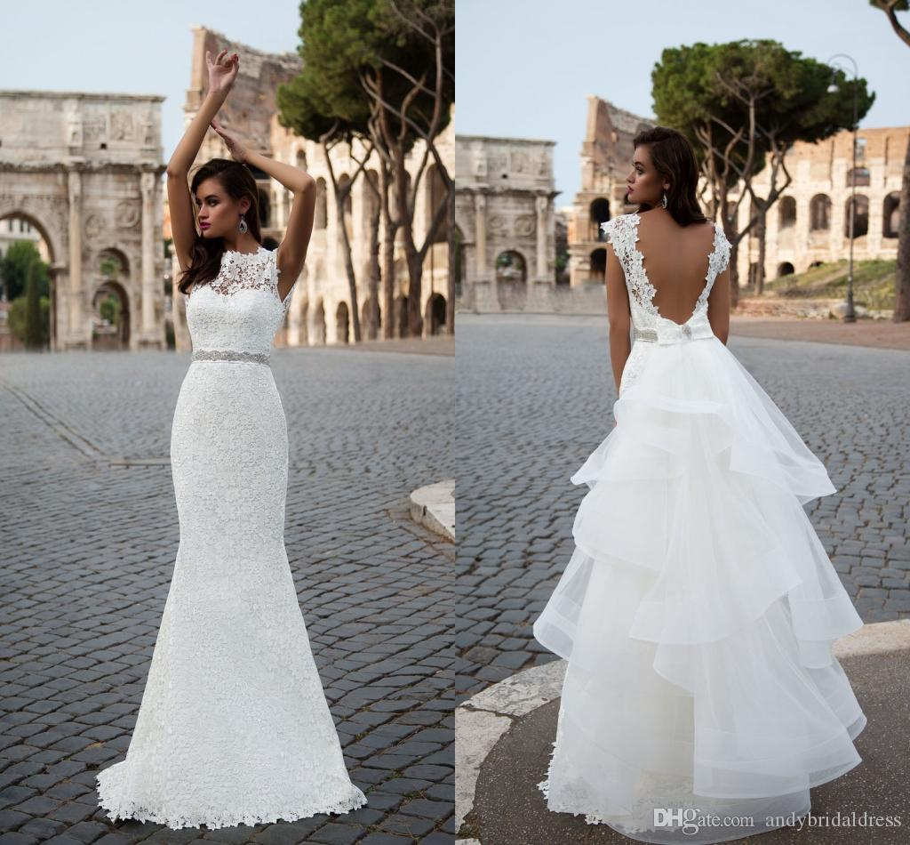 Western Style Backless Detachable Lace Wedding Dresses Mermaid Trumpet Cap Sleeve Ruffles Skirt Bridal Gowns Dresses Mermaid Beaded Wedding Dress