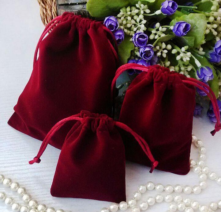 무료 배송 100pcs 수제 S M L 더 두꺼운 더 나은 품질 벨벳 보석 귀걸이 반지 목걸이 가방 결혼식 파티 캔디 크리스마스 선물 가방