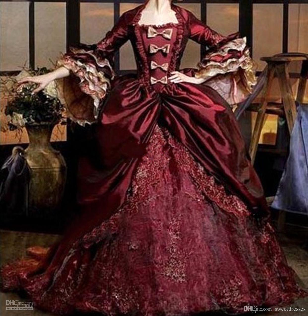 Half Sleeves Wine Red Quinceanera Dress Pleat Lace Appliques Floor Length Renaissance Victorian Period Gothic Vintage