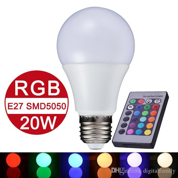 NEW E27 RGB LED Lamp 10W 15W 20W LED RGB Bulb Light Lamp 110V 220V Remote Control 16 Color Change Lampada LED Global Light Luz A65 A70 A80