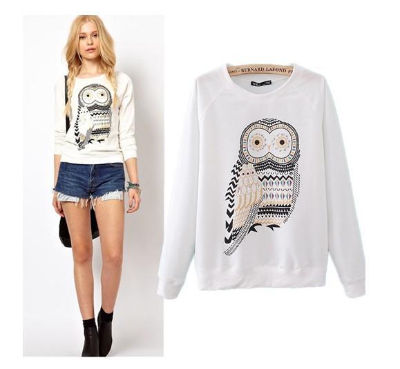 Odzieży wierzchniej XS-S-M-L Nowa Jesień Dorywczo Cute White Owl Zwierząt Print Frezowanie Bluzy Pullover Dla Kobiet Wysokiej jakości WT4002