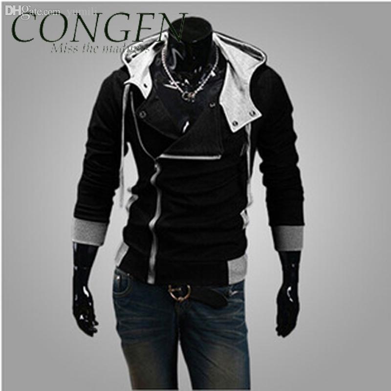 Otoño-2015 Nueva llegada bombardero hombres chaqueta con capucha, Diagonal Zipper marca rompevientos / over / coat Abrigos, Slim Fit, más tamaño, 4XL