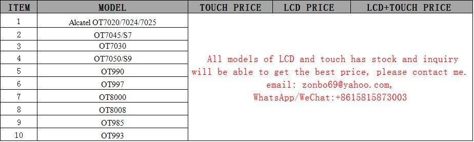 display LCD digitalizador de pantalla táctil para Alcatel OT7020 / 7024/7025 / OT7045 / S7 / OT7030 / OT7050 / S9 / OT990 / OT997 / OT8000 / OT8008 / OT985 / OT993 LCD TOUCH