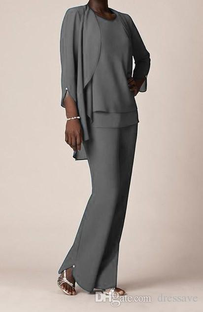 Elegant Grey Chiffon Formal Pant Suits For Mother Groom Dresses Evening Wear Long Bride Dresses With Jackets Plus Size Custom