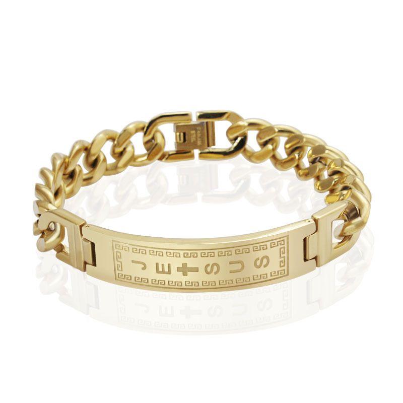 18k الذهب شغلها أساور أساور الرجال المجوهرات يسوع الصليب pulseiras الفولاذ المقاوم للصدأ