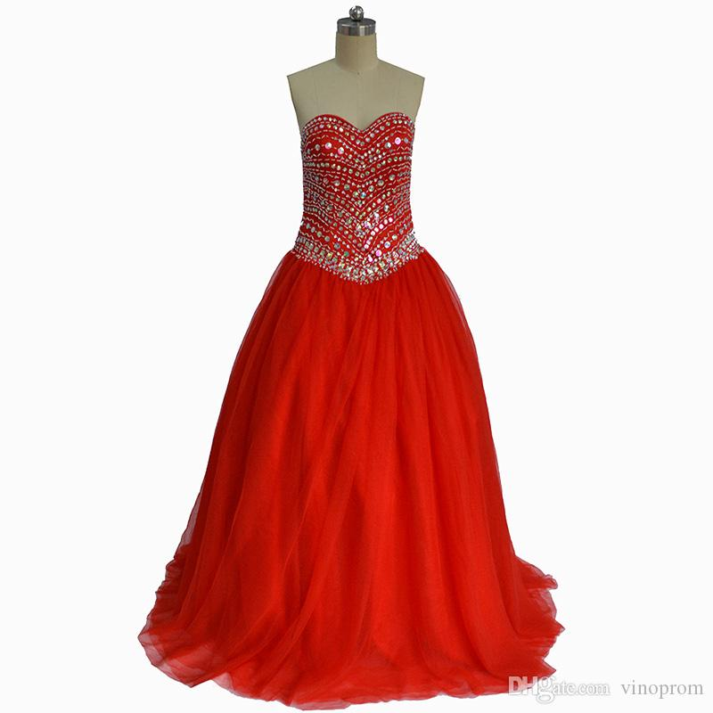Vestidos De Cortos Para Coctel Ball Gown Sweetheart Tulle Red Beaded Abiti per occasioni speciali Evening Formal Prom Gown 2018
