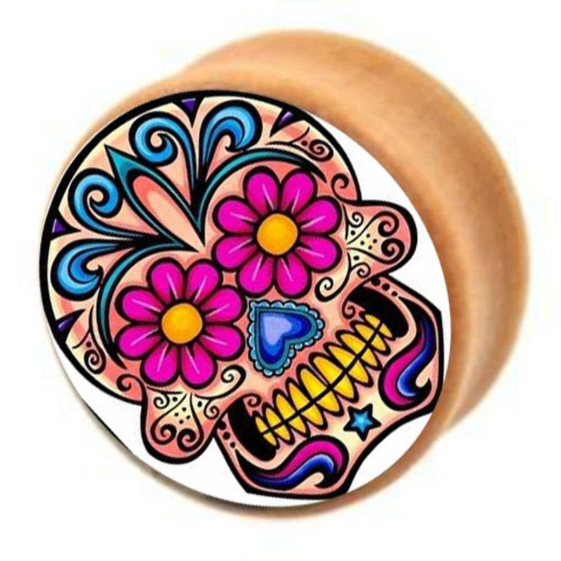 Sugar Skull Wood Plug Body Jewelry Flesh Tunnel Ear Stretcher Gauge Double Flared Saddle Wooden Mix 6-16mm Ear Piercing