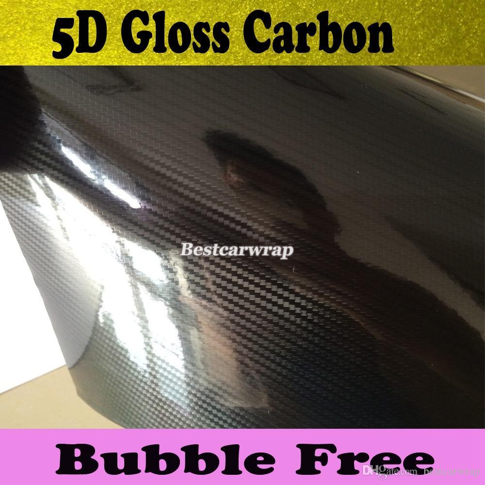 Premium Black5D Włókno węglowe Wrap Vinyl Wrap Car Wrap Film Bańka powietrza Bezpłatny połysk 5D Włókno włókna węglowego Rozmiar folii 1,52x20m / Roll