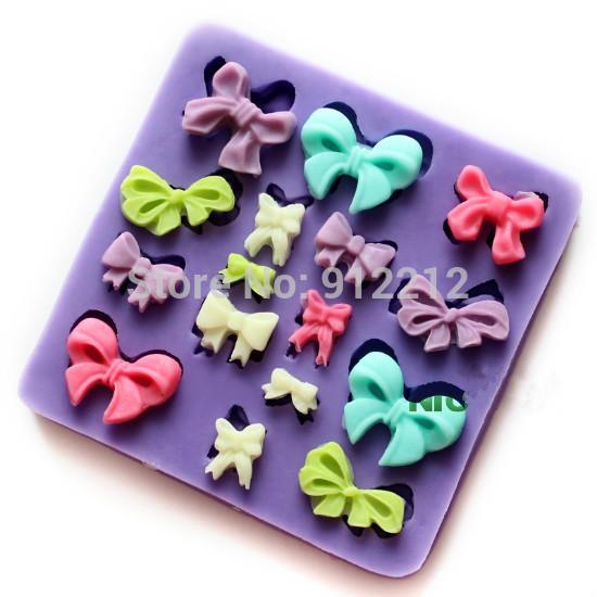 Free shipping silicone fondant cake mold silicone mold Mini bow export cookies chocolate molds wedding cake decorating tools