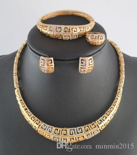 New Arrival African Costume Gold/Silver Plated Jewelry Sets Rhinestone Dubai Gold Necklace Set Vintage Wedding Accessories Gift For Women