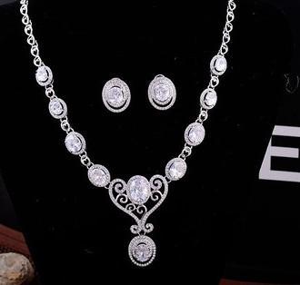 mais cor cristal jóias pedra waterdrop casamento noiva colar brincos conjunto woniu152) ggdfg