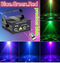 Драгоценная голубая лазерная лампа двойное отверстие интеллектуальные 3 цвета лазерный материал 110 V - 240 ВКТВ этап света свадьба лазерная лазерная лампа
