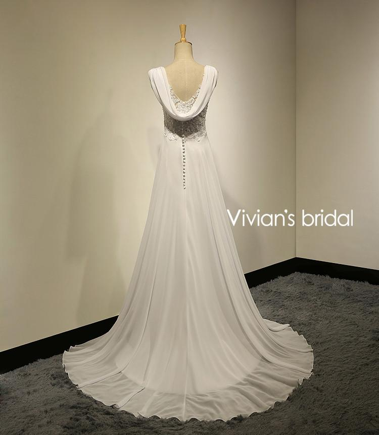 Vivians Bridal Summer Sexy Lace Appliques Chiffon Beach Wedding ...