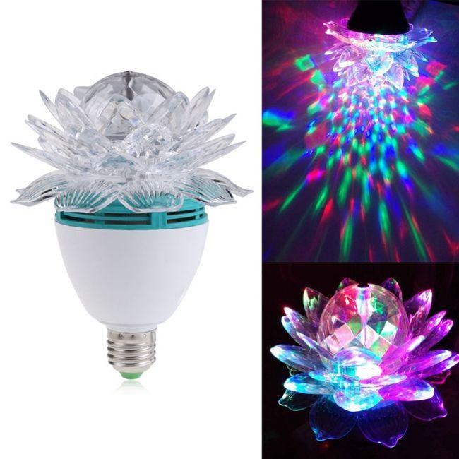 Hot Items Colorful Lotus Flower 3W E27 LED RGB Auto Rotating Bulb Stage Light Christmas Xmas Party Lamp bar lights high quality
