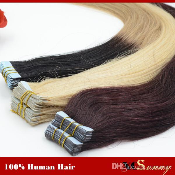 """XCSUNNY 18 """"20"""" brasilianisches reines Band-Menschenhaar-Verlängerungs-100g PU-Haut-Schuss-Haar-Verlängerungs-gerades Band in den Haar-Verlängerungen"""