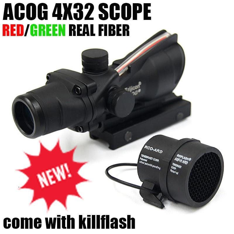 Tactical Trijicon ACOG 4x32 Fiber Optics Scope w/ Real Red/Green Fiber Crosshair Riflescopes come with Kill Flash