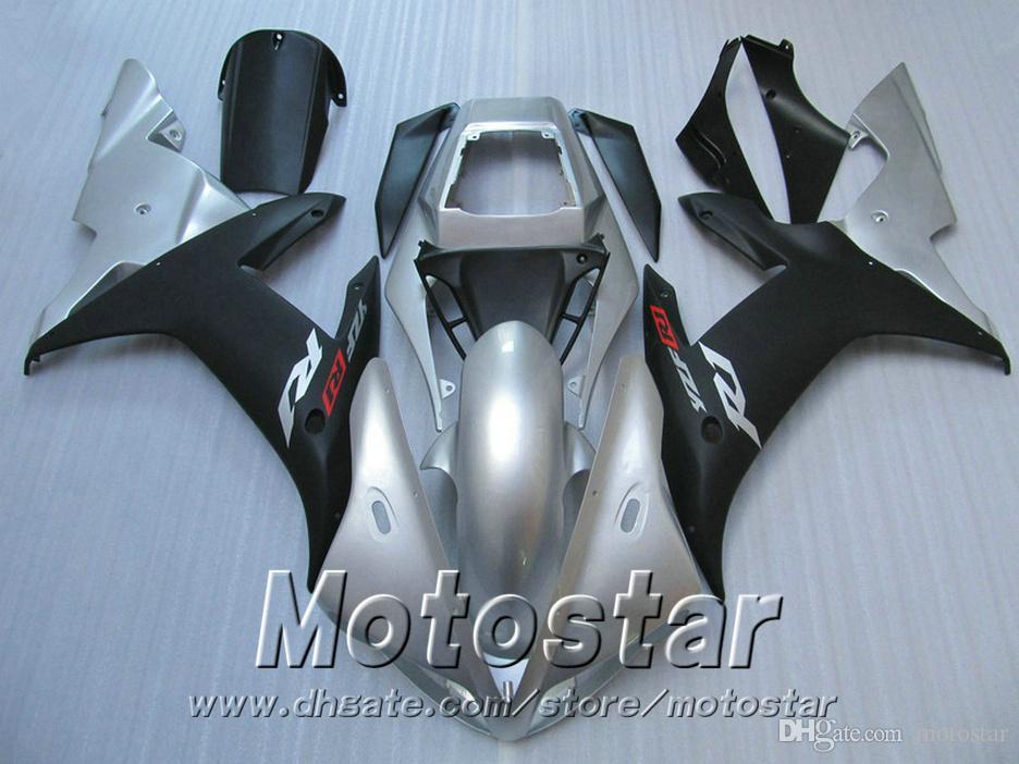 Injection mold ABS full fairing kit for YAMAHA R1 2002 2003 matte black silver fairings set 02 03 yzf r1 LQ12