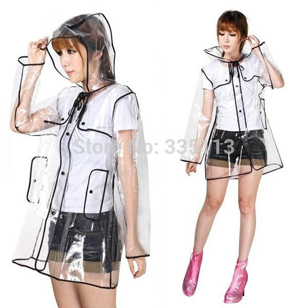 حار بيع 2015 النساء الفتيات شفافة pvc مقنع المعطف السيدات انظر من خلال بوتون أسفل طويلة المعطف واضح للماء