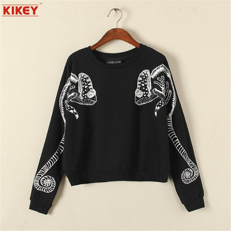 Korean Chameleon Printing Short Design O-Neck Women Shirt T-shirt Long Sleeves Short Top Free Size Tops Women NZ3128