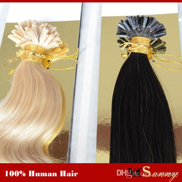 "XCSUNNY 18 ""20"" 100g / pk U Tip Haarverlängerungen Human 100% Peruanische Keratin Vorgebundene Nagel U Tip Haarverlängerungen Human 1g / s"