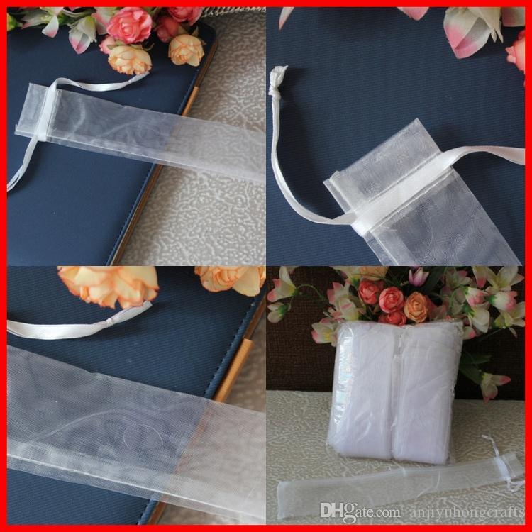 يمكن تخصيص 50pcs / lot بيضاء شفافة أكياس الأورجانزا الناعمة مع الرباط اللون أكياس الزفاف هدية الحقيبة مروحة