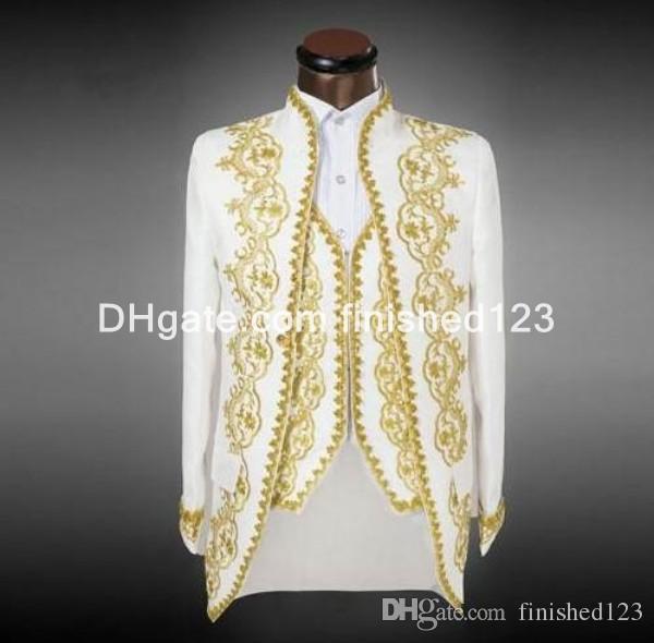 Yeni Varış Damat Smokin Beyaz Altın Nakış Ile erkek Takım Elbise Groomsmen Mens Düğün Balo Suits (Ceket + Pantolon + Yelek) G1070