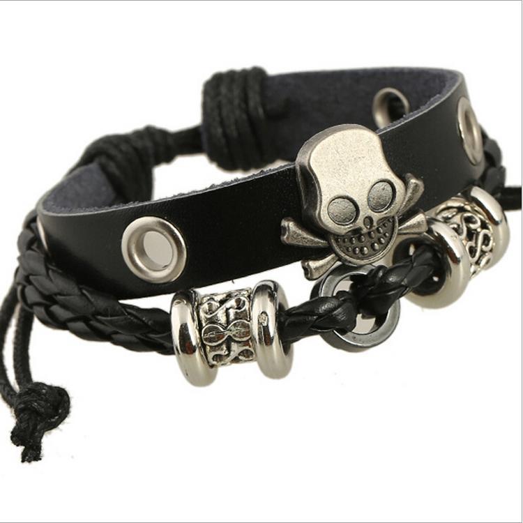 أزياء سحر أساور اليدوية الجمجمة سحر للرجال متعدد الطبقات إنفينيتي سبائك الخرز واسعة الأساور الجلدية السوداء المجوهرات