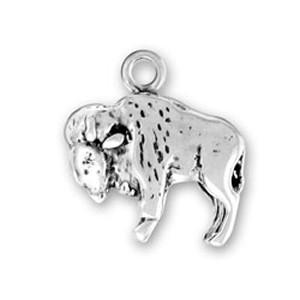 Büyük Buffalo hayvan cazibesi 50 adet tek taraflı çinko alaşım antika gümüş kaplama