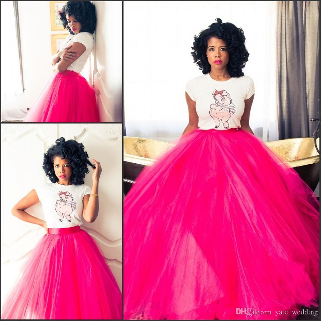Maxi Fuchsia Tulle 스커트 여성을위한 극적인 뜨거운 핑크 바닥 길이 투투 볼 가운 높은 허리 긴 스커트