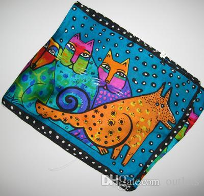 100% шелковый шарф шарфы шелковый шарф милашка дизайн для дам или детей 20 шт. / лот новый