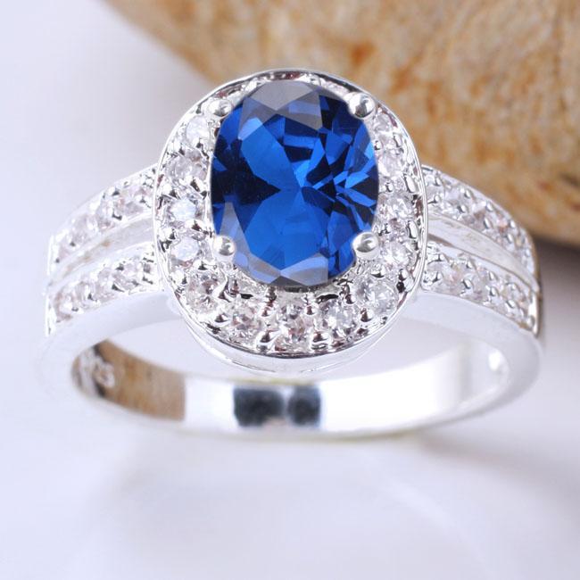 Chic Oval Ana Taş Mavi Safir 925 Ayar Gümüş Promise Yüzükler Kadınlar için Boyutları Renkler Seçilebilir R013