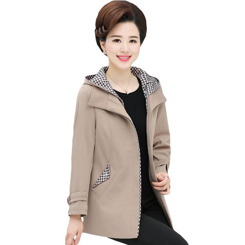 Middle-aged Women's Clothing Female Autumn Hooded Single Breasted Trench Coat Mother Loose Casual Coat Plus Size Outwear XH201