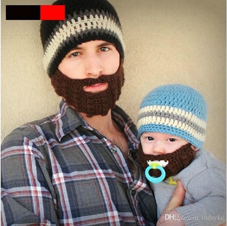 Winter Striped Knit Ski Face Mask Beanie For Kids Crochet Beard Hats