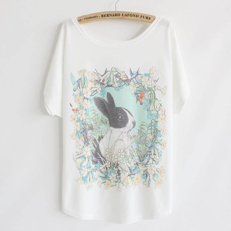 [Sihirli] 2014 yeni tshirt kadınlar ulusal stil çiçekler otlar rabit baskılı kaliteli pamuklu tişört L38 ücretsiz kargo