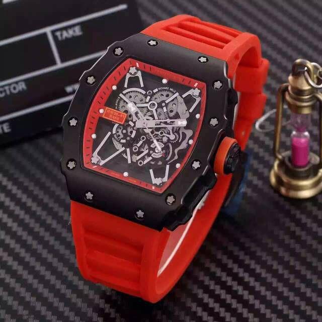 Klassische Große Gesicht Schwarz Edelstahl RM035 Herren Luxus Mechanische Uhren Kautschukband Business Männer Automatische Armbanduhr Box Papier Kostenloser Versand