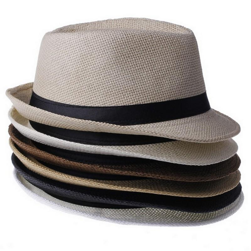 クールな男性女性わらパナマ帽子屋外カジュアルFedora Capsカジュアルな旅行ビーチSun Hatsカラー選択ZDS * 1