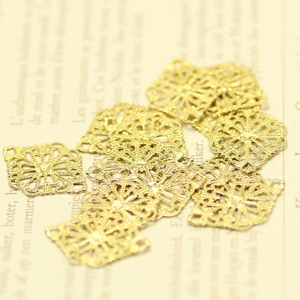Hot21x15mm decorative diy jewelry components accessories connectors findings brass raw color hollow metal filigree 100pcs/lot drop shipping