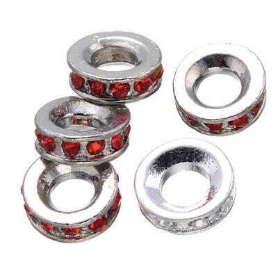 Hot Koop 100 Stks Europese Stijl Crystal Rhinestone Charm Metal Beads Good voor DIY Craft Gratis verzending