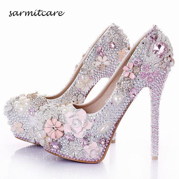 W015 El Yapımı Tam Rhinestones Inci Çiçekler Kapalı Platformu Yüksek Topuklu Beyaz Pembe Düğün Ayakkabı Özelleştirilmiş Gelin Ayakkabıları Külkedisi Ayakkabı