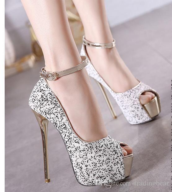 2016 Fancy Sequined Ankle Strap Shoes High Heels Peep Toe Platform ...