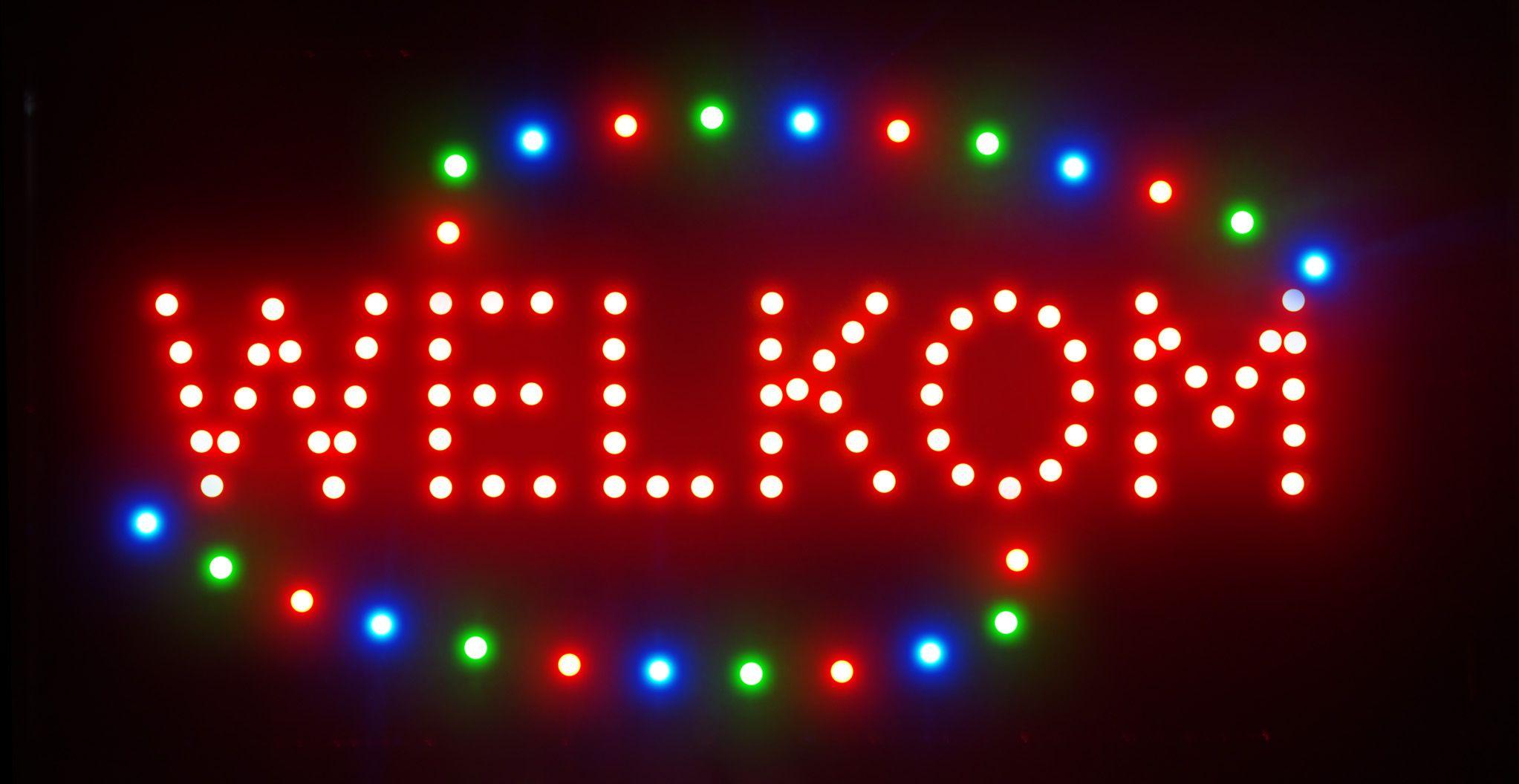 Chegando novo personalizado levou WELKOM sinais neon slogans atraentes sinal WELKOM luzes semi-ao ar livre tamanho 48 cm * 25 cm