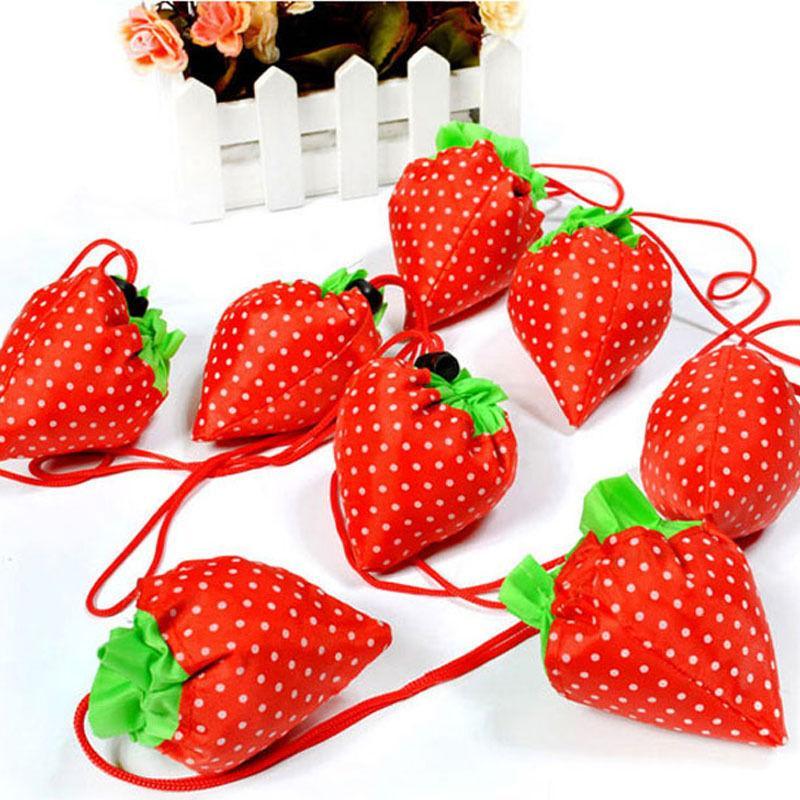 Bolsas Eco Almacenamiento bolso de compras plegable de la fresa de asas reutilizable de almacenamiento color al azar