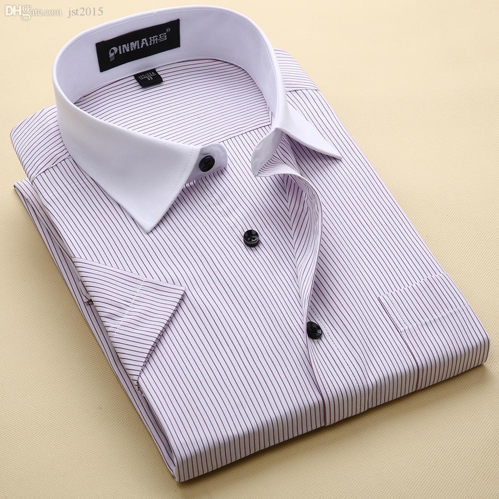 En gros-Nouvelle Arrivée Marque Hommes Chemises À Rayures Casual Social Business Chemise Formelle Haute Qualité À Manches Courtes Robe Chemise Pour Hommes
