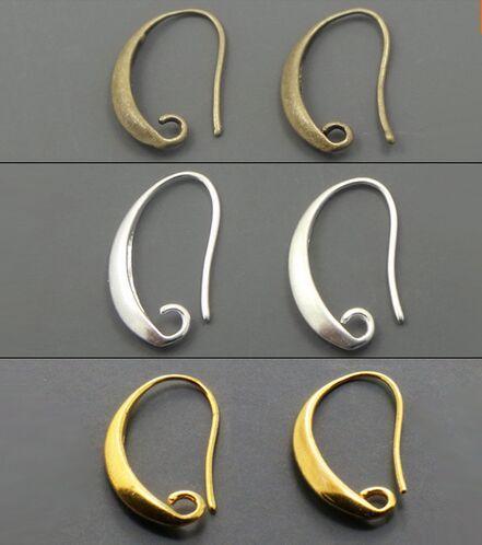 Toptan-100 adet / grup Antik Bronz / Gümüş / Altın Kaplama Kulak Telleri Kanca Küpe DIY Takı için 13 * 19mm