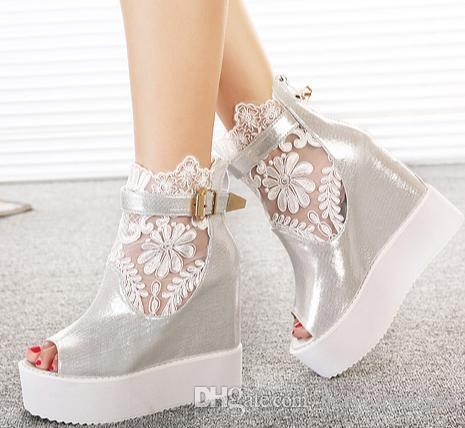 White Wedges Wedding Pumps in 2020 | White wedge shoes